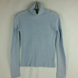 DKNY light blue ribbed turtleneck sweater